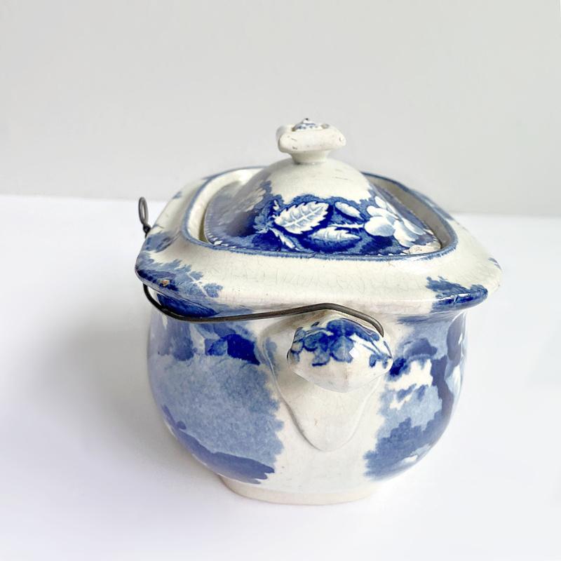 Antique English Blue Transferware Sugar Box with Shepherd