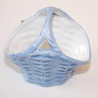 1920's Miniature Porcelain Large Blue Rose Basket