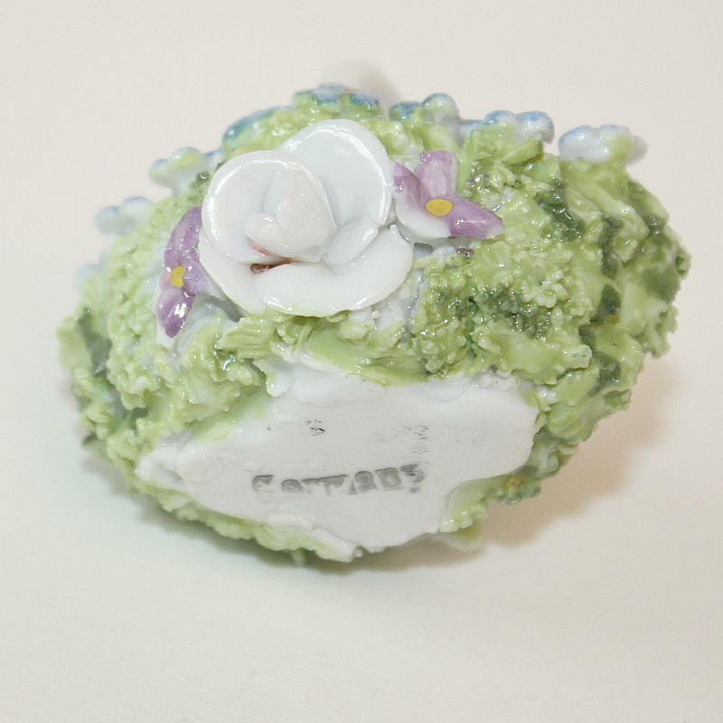 1920's Miniature Porcelain Flower Moss Basket