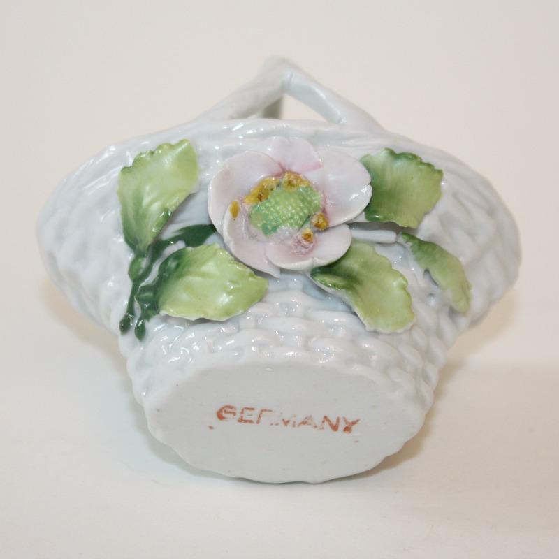 1920's Miniature Porcelain Wicker Elfin Flower Basket