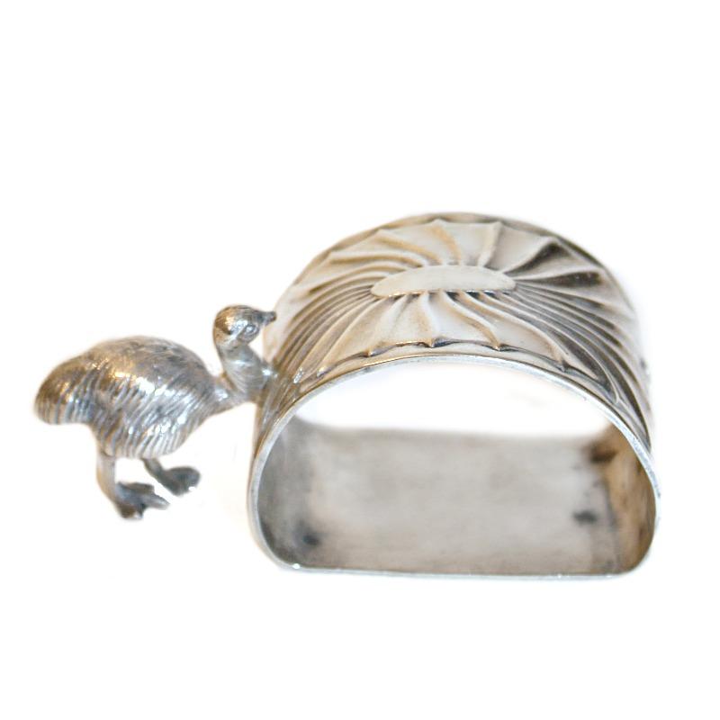Antique Sheffield Silver Plate Figural Emu Napkin Ring