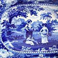 Early English Dark Blue Transferware Bowl or Deep Platter