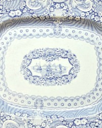 Early Antique Blue and White Transfeware Platter Sail Boats