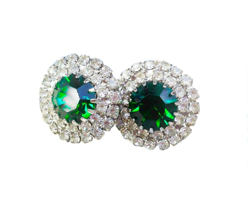 Estate Vintage Emerald Green and Ice Earrings