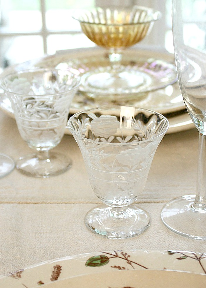 Antique Estate Etched Floral Glass Cocktail Glasses Set of 10