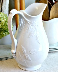 Early Antique White Ironstone Ewer Pitcher