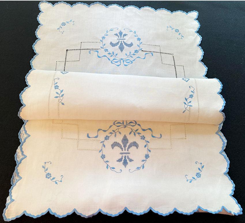 Antique Linen Blue and White Fleur de Lis Runner
