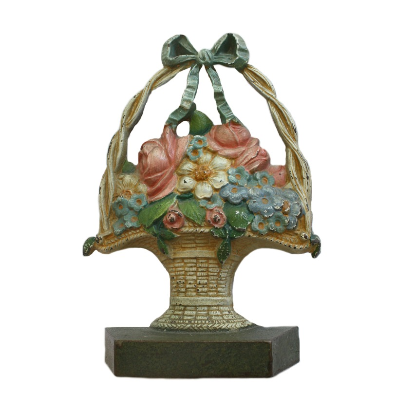 Antique Cast Iron Floral Basket Doorstop