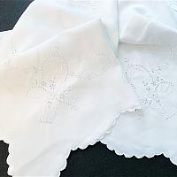 Antique White Hand Embroidered Tablecloth with Floral Baskets Square