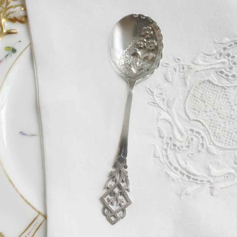 Antique Silver Plated Floral Jam Spoon