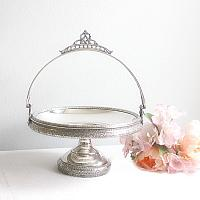 Antique Victorian Silver Plate Ornate Brides Cake Basket Floral Urn