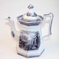 Antique Flow Blue Staffordshire Coffee Pot