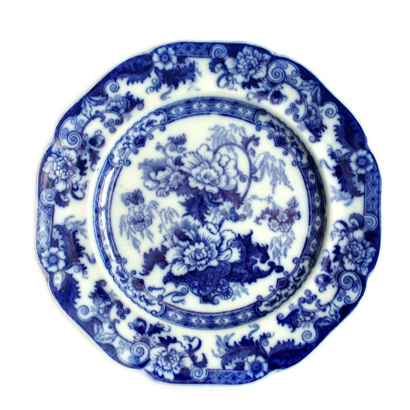 Antique 19th Century English Floral Flow Blue Plate