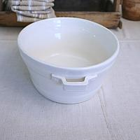 Antique French White Ironstone Foot Bath with Handles