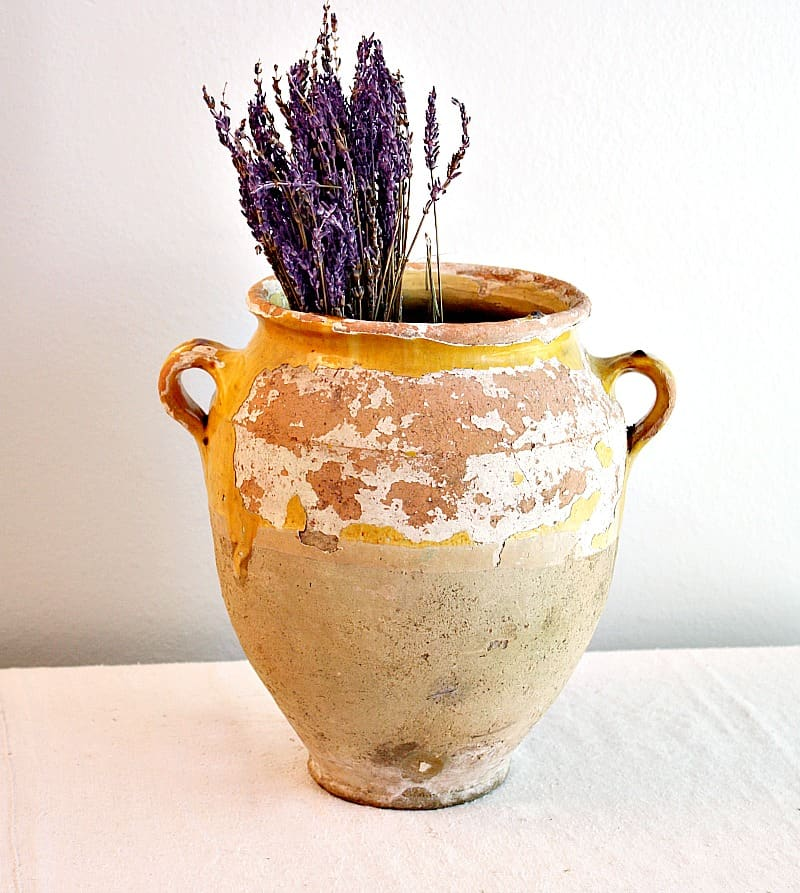 Antique Aged French Provencal Ochre Confit Pot