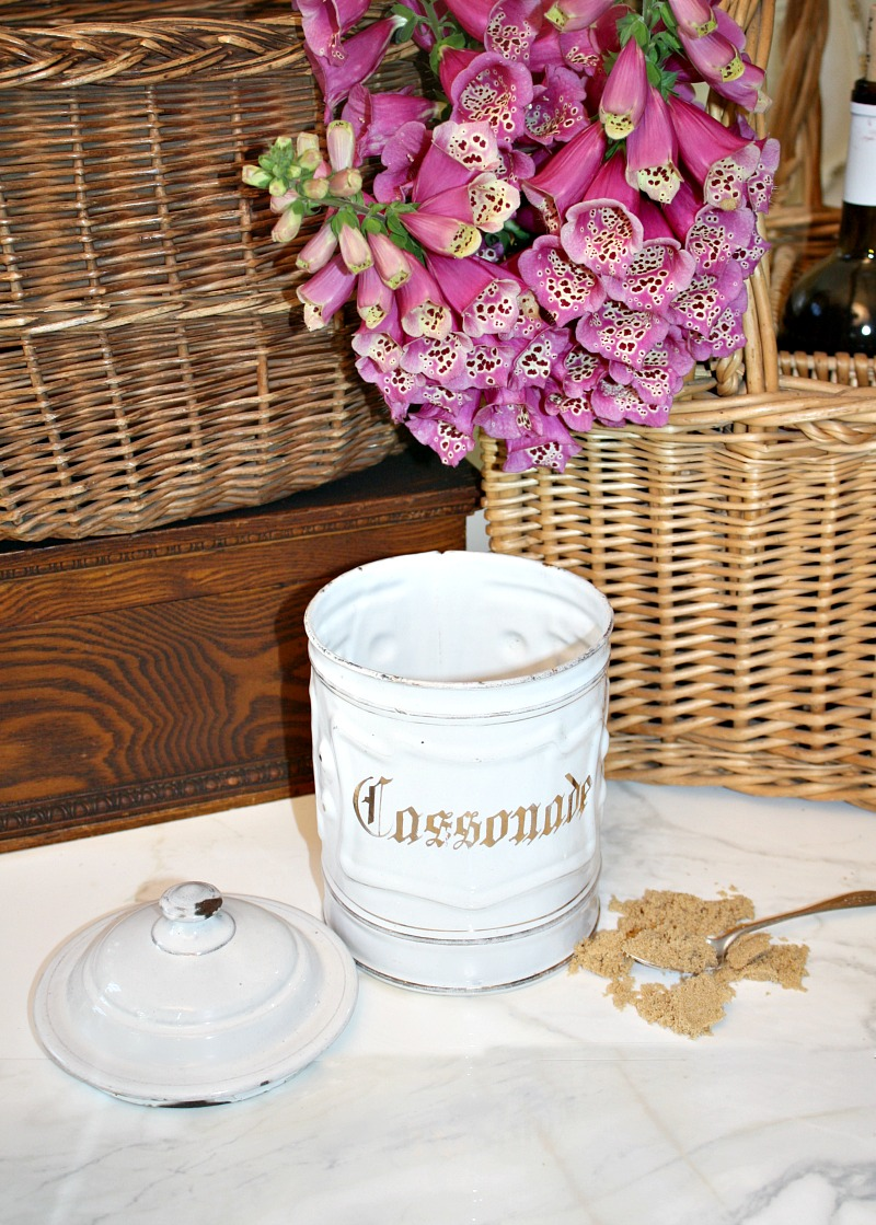Antique French White Enameled Brown Sugar Canister