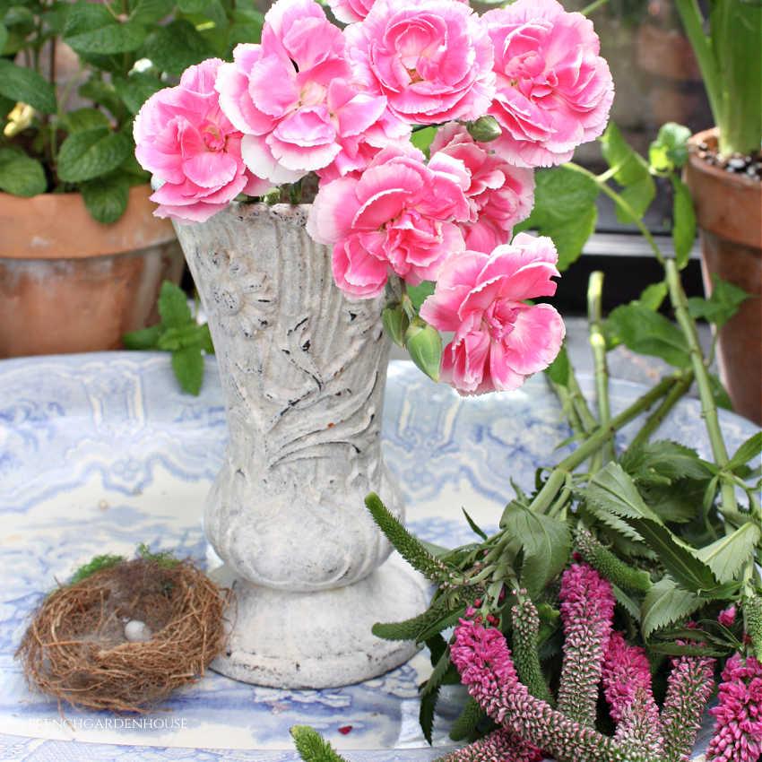 Antique French Art Nouveau Cast Iron Jardin Vase White