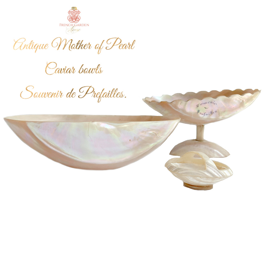 Antique French Mother of Pearl Serving Bowl Set
