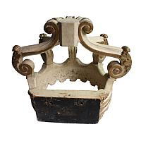 Large Antique Architectural Wood Gilded Bed Crown