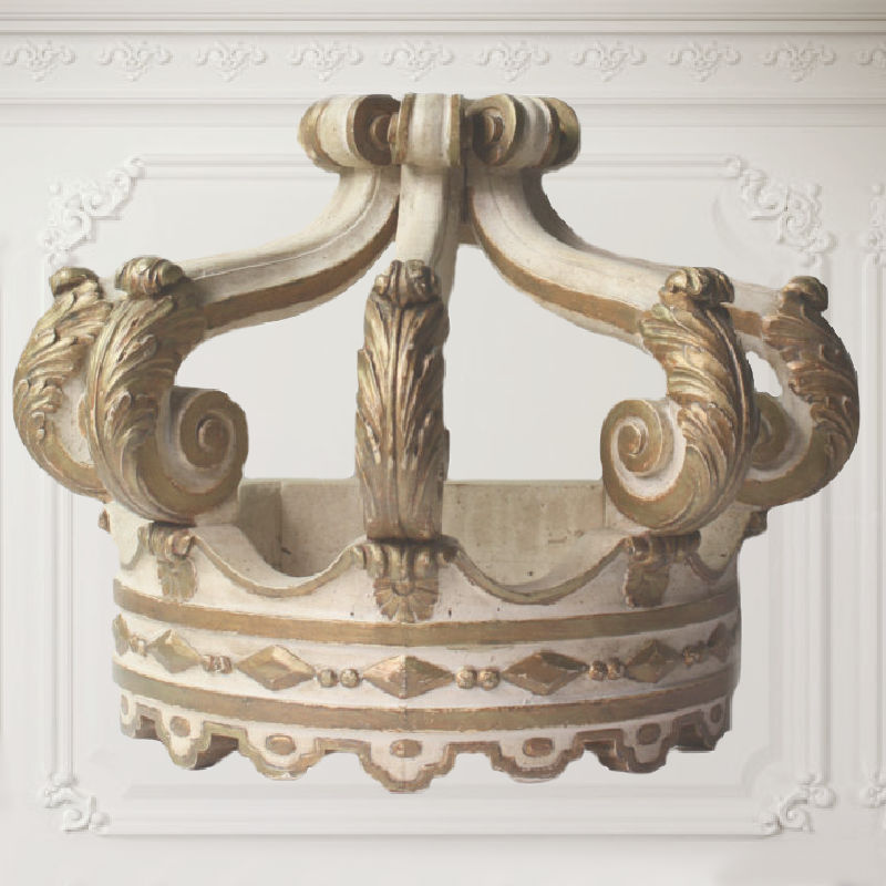 Large Antique Architectural Wood Gilded Crown