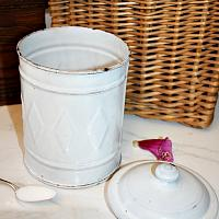 Antique French Art Deco White Enameled Sucre Canister