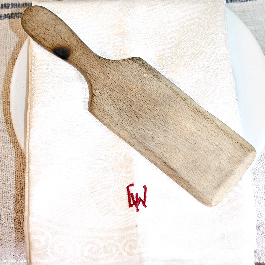Antique Hand Carved Wood Butter Paddle