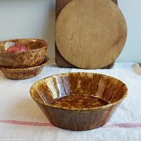 Country Chocolate and Caramel Golden Yellow Ware Spatter Bowl