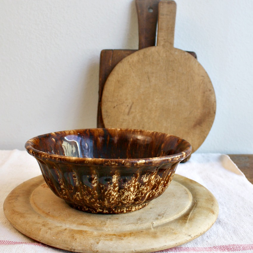 Antique Chocolate Brown Yellow Ware Spatter Bowl