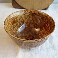 Antique Brown Gold Glazed Country Yellow Ware Spatter Bowl