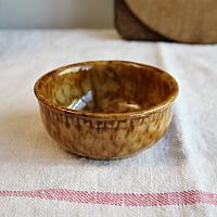 Small Country Golden Mustard Brown Yellow Ware Spatter Bowl