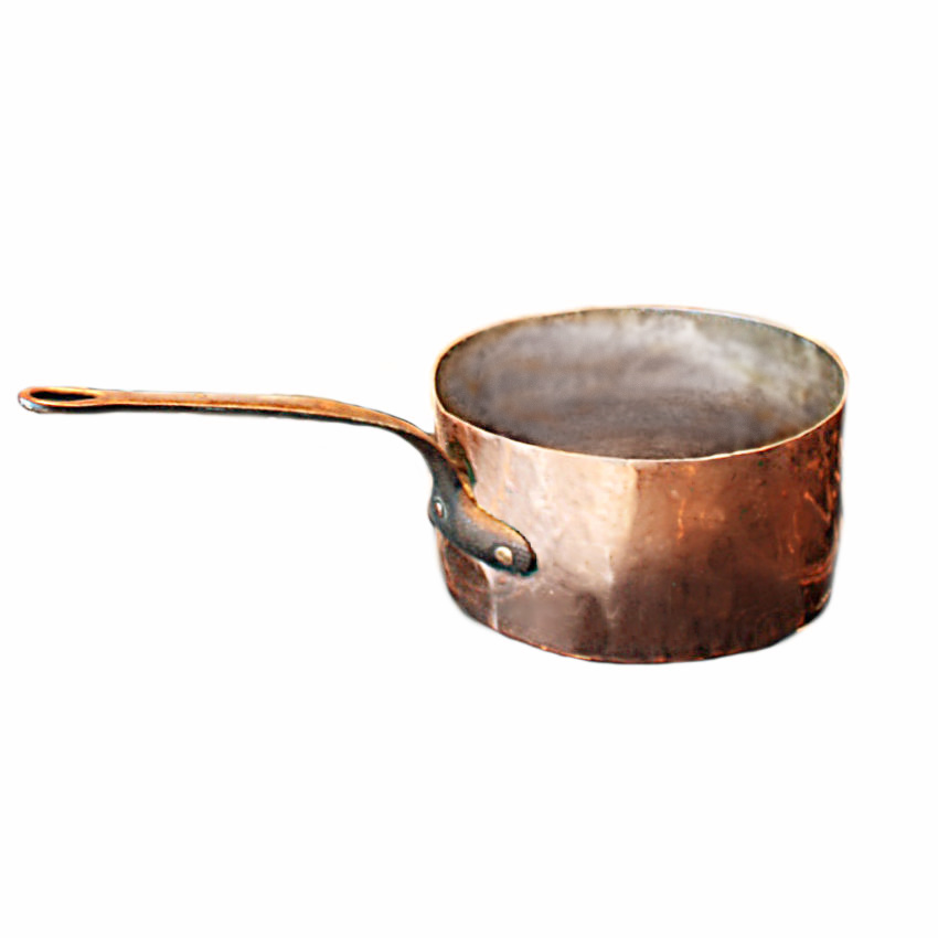 Antique Large Hand Hammered Copper Sauce Pan
