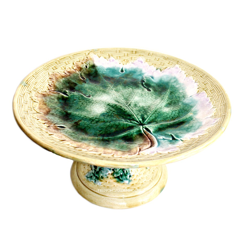 Antique Majolica Golden Yellow Compote Cake Stand