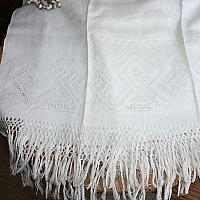 Antique French Floral Cream Damask Show Towel Lily