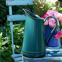 Antique French Country Enamel Milk Pitcher Teal