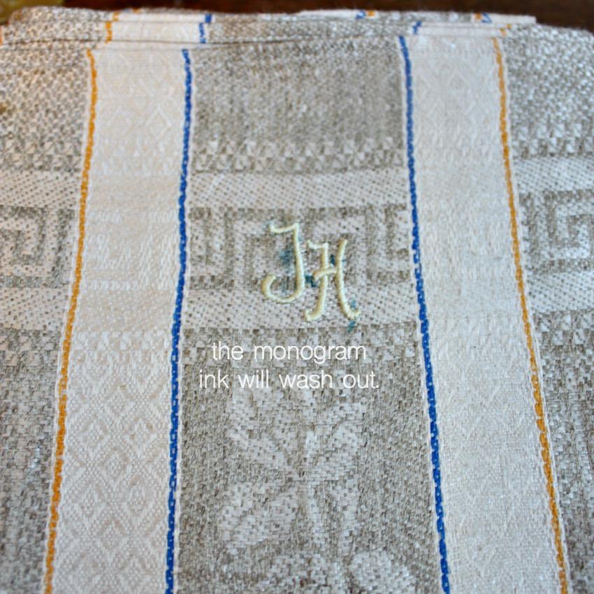 Antique French Estate Luxury Exclusif Linen Tea Towel Unused Small Rose