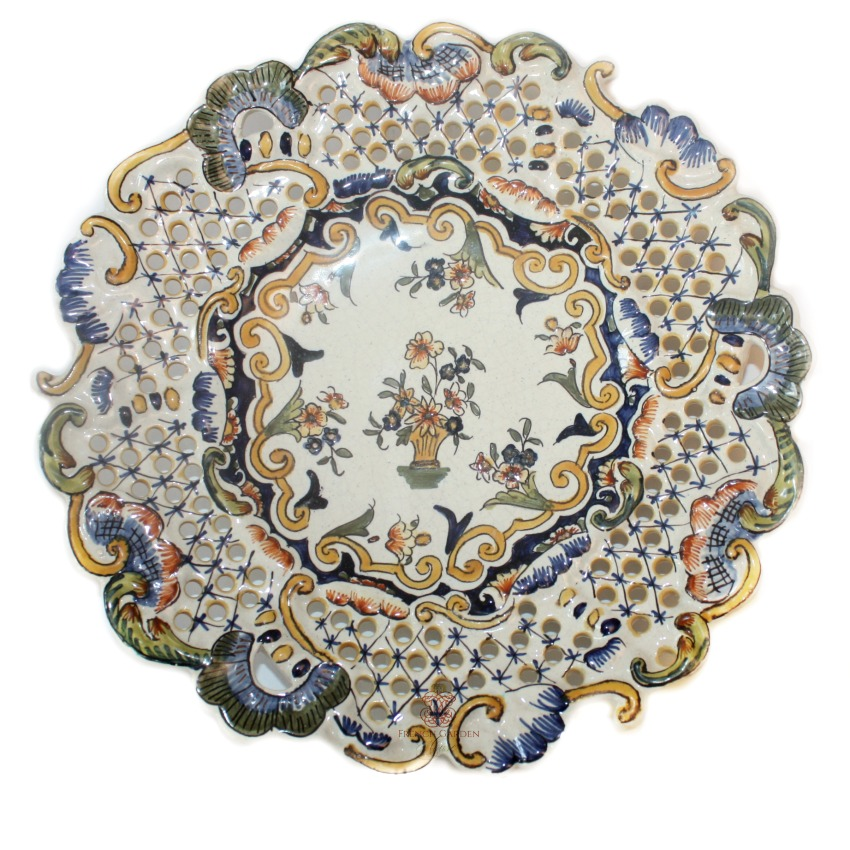 French Hand Painted Faience Majolica Pierced Show Plate