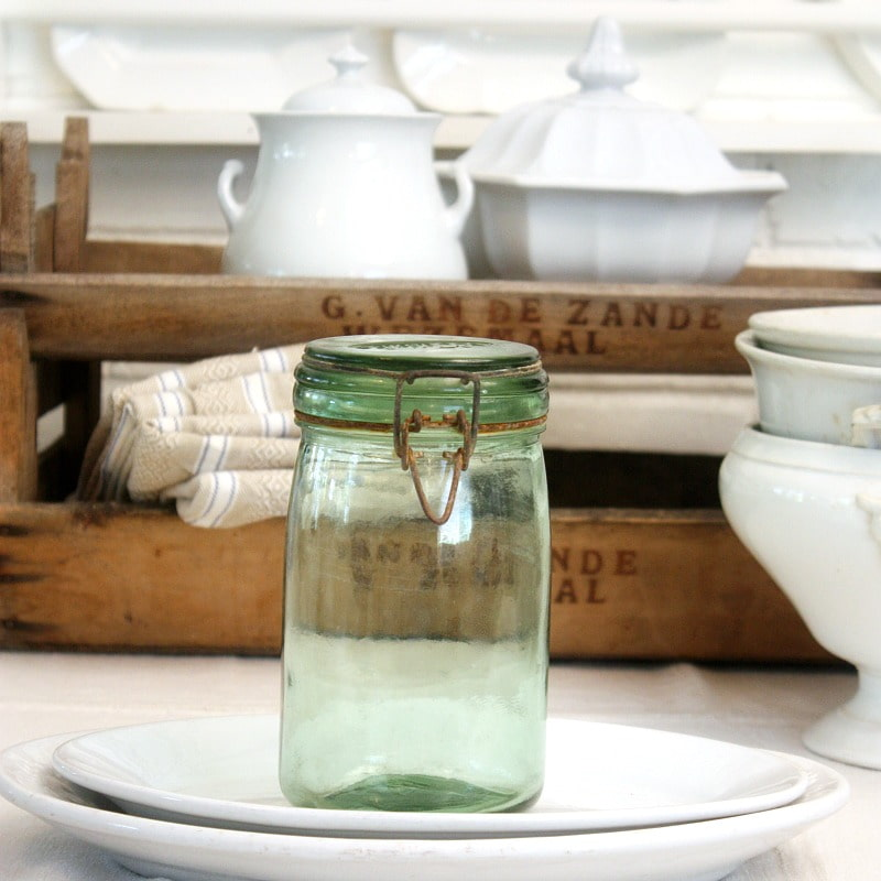 Vintage French Green Glass Canning Jar