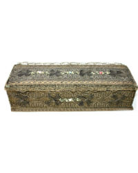 Antique French Metallic Lace Gloves Box with Ribbon Rose Decoration