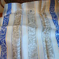 Antique French Estate Luxury Exclusif Linen Tea Towel Unused Blue Monogram