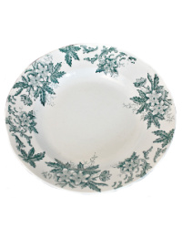 Antique French Ironstone Bowl Anemone Teal Blue