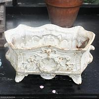 Antique French Rococo Revival Cast Iron Jardiniere White
