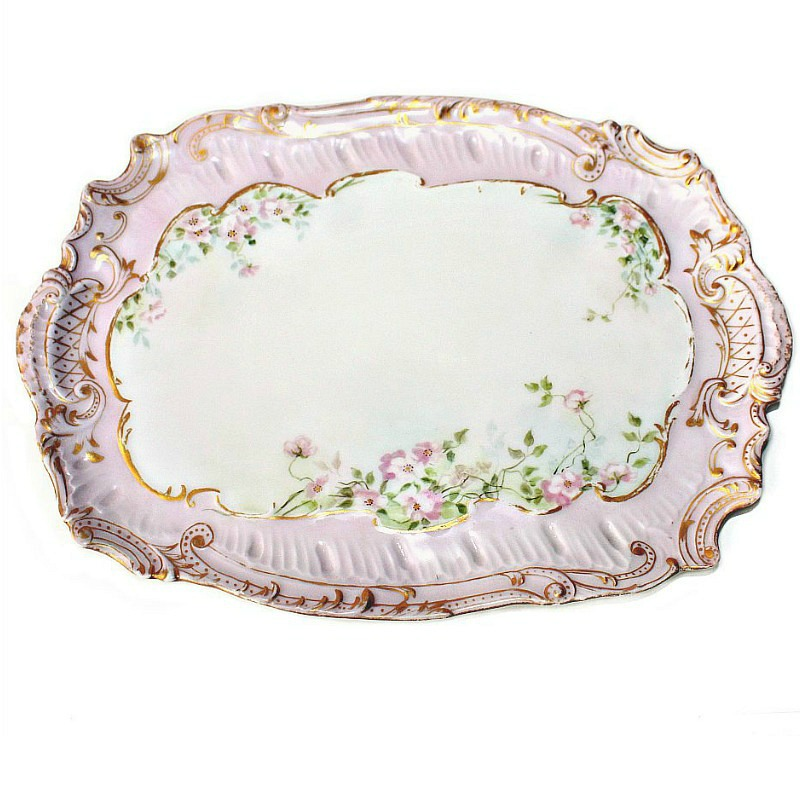 Antique French Limoges Hand Painted Porcelain Pink Ice Cream Server