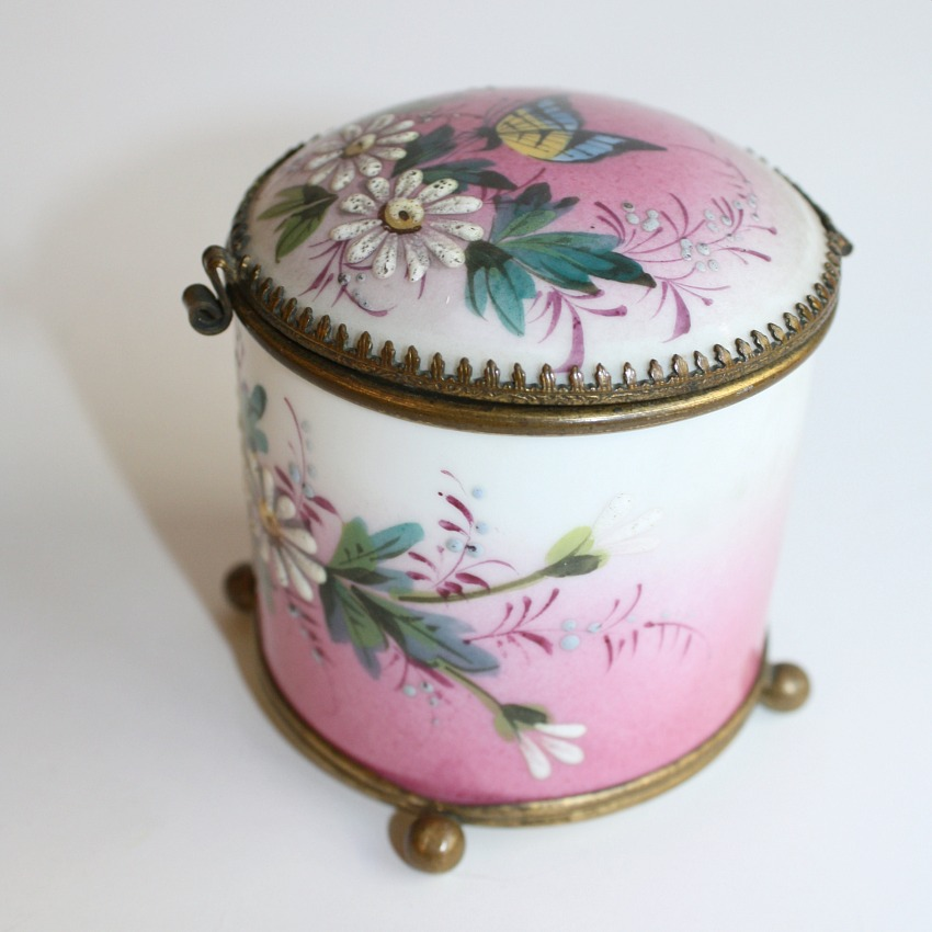 Antique French Enameled Pink Floral Hand Painted Box