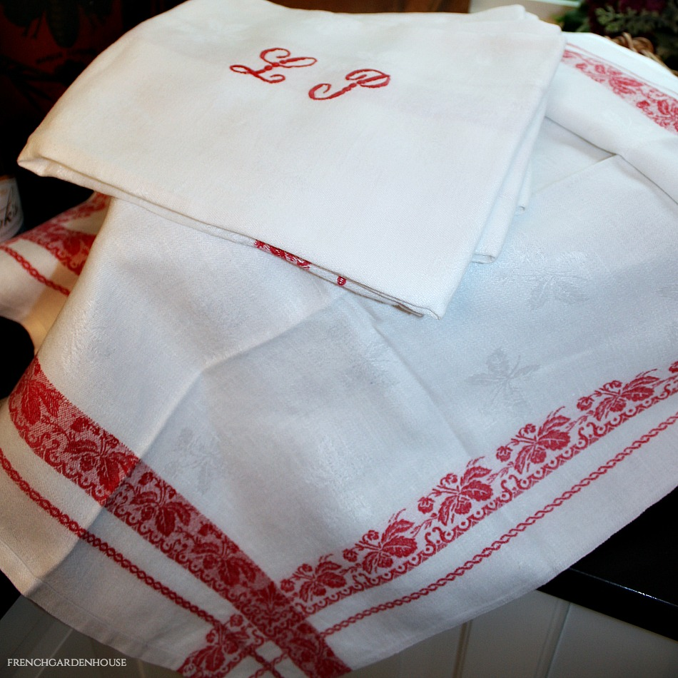 Antique French Linen Monogrammed Napkins L P Red Borders Set 6