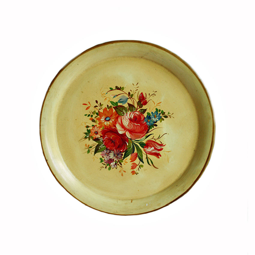 Antique French Country Hand Painted Saffron Yellow Tole Tray
