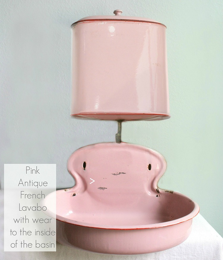Antique French Pink Enameled Lavabo Fountain with Top