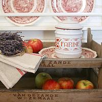 Antique French White and Red Enameled Farine Canister
