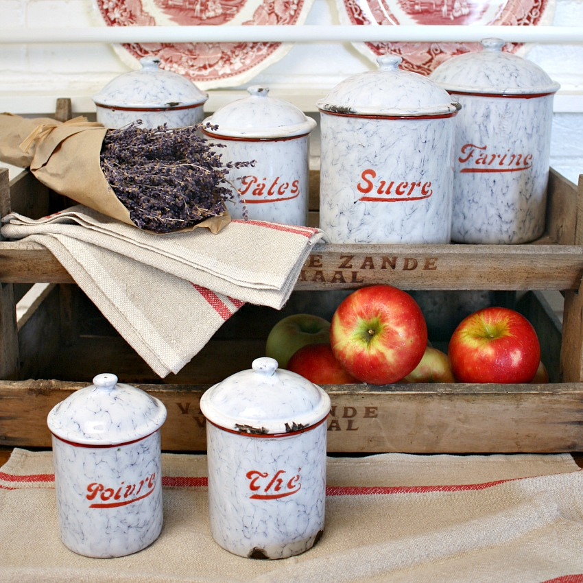Antique French Enamelware Red and White Canister Set 6