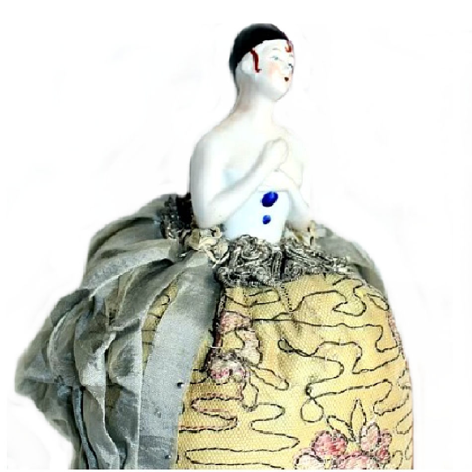 Rare Antique Pierette Half Doll Pin Cushion