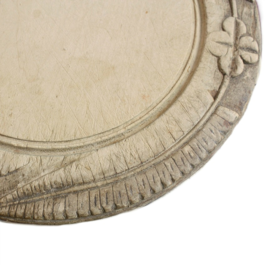 19th Century Hand Carved Round Bread Board Ferns